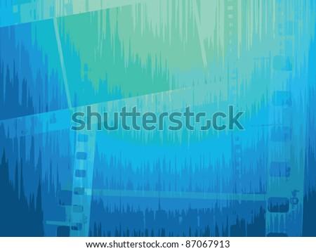 Film strip vector background in blue tones. Vector image. - stock vector