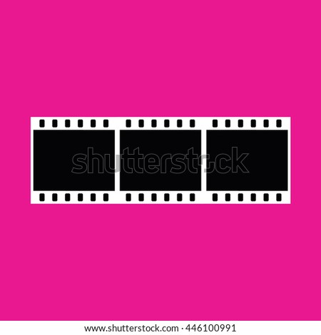 Film strip vector icon. Pink background - stock vector