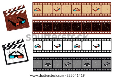 film strip with 3D Glasses vector pattern