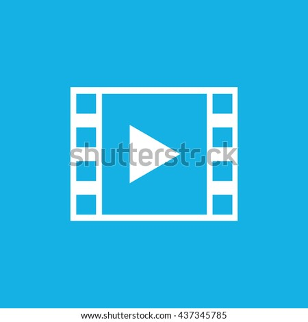 Film strip with play button icon / blue background / vector illustration - stock vector