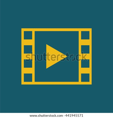 Film strip with play button . yellow icon / vector illustration / flat design - stock vector