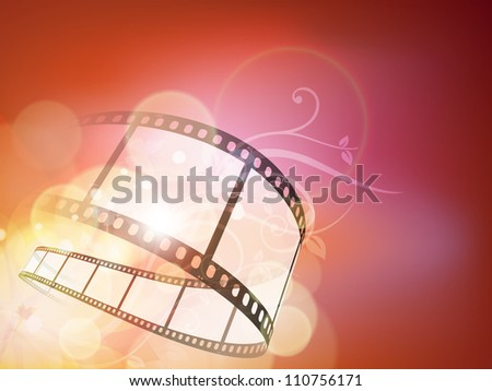Film stripe or film reel on floral background. EPS 10 - stock vector
