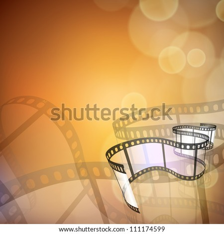 Film stripe or film reel on shiny movie background. EPS 10 - stock vector