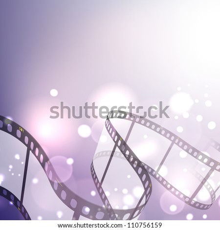 Film stripe or film reel on shiny purple movie background. EPS 10 - stock vector