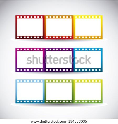 film stripe over gray background. vector illustration - stock vector
