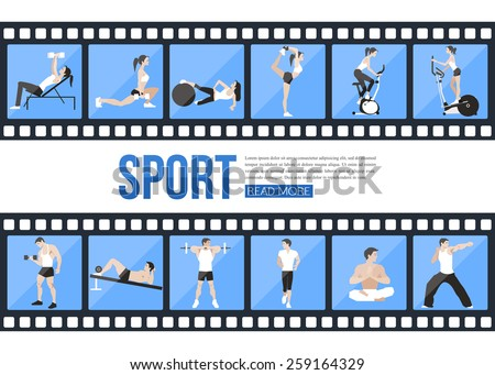 Film strips and training people icons set for sport and fitness infographics, presentation templates, web and mobile apps. Flat style design. Vector illustration.