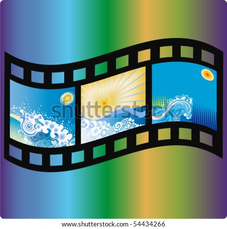 film with a pictures of wave and a sun