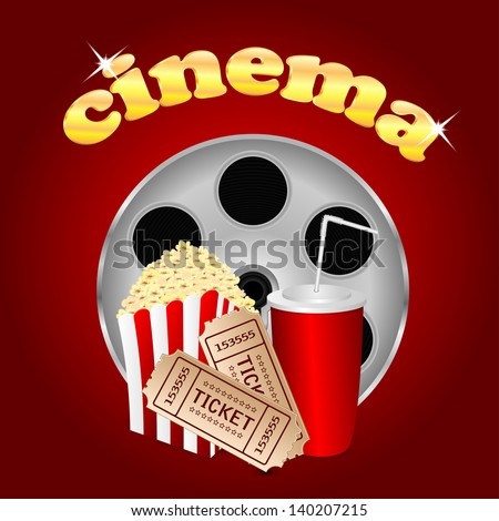 film with popcorn and a drink on a red  background - stock vector