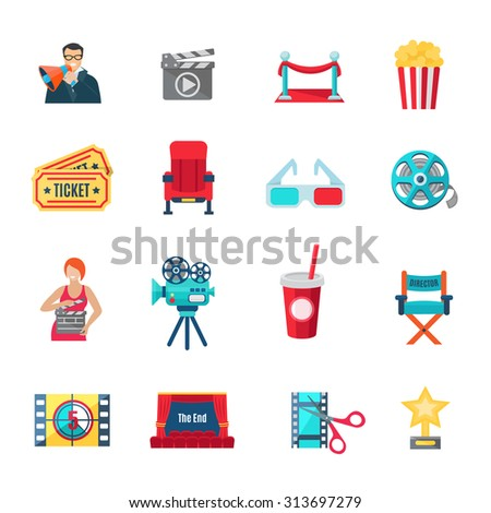 Filmmaking and production icons set with cinema director and awards flat isolated vector illustration  - stock vector
