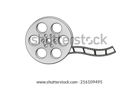 filmstrip and reel on white background, isolated - stock vector