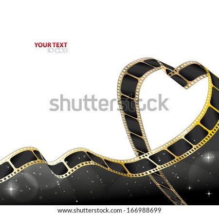 filmstrip background in the shape of heart - stock vector