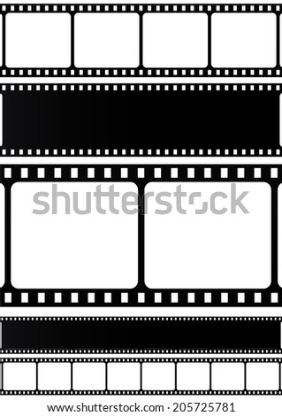 Filmstrip collection on white background. VECTOR illustration. - stock vector