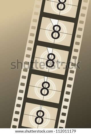Filmstrip countdown from number eight on brown background - stock vector