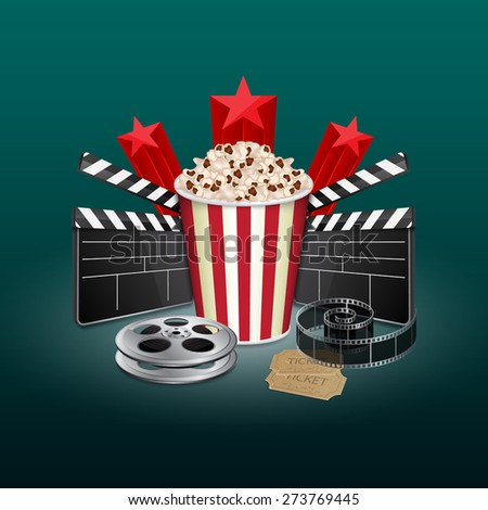 Filmstrip, reel, film clapper with vintage ticket and popcorn. Movie background. Cinema concept. EPS10 vector - stock vector