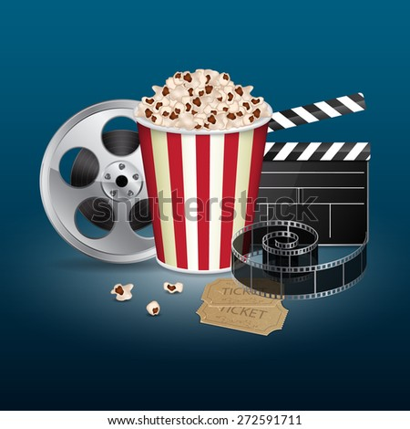 Filmstrip, reel, film clapper with vintage ticket and popcorn on blue background. Cinema concept. EPS10 vector - stock vector