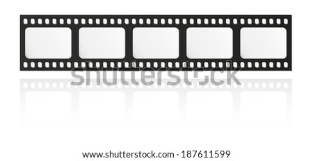 filmstrip with five frames and reflection on white background - stock vector