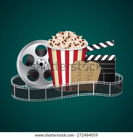 Filmstrip with vintage ticket and popcorn on green background. Cinema concept. EPS10 vector