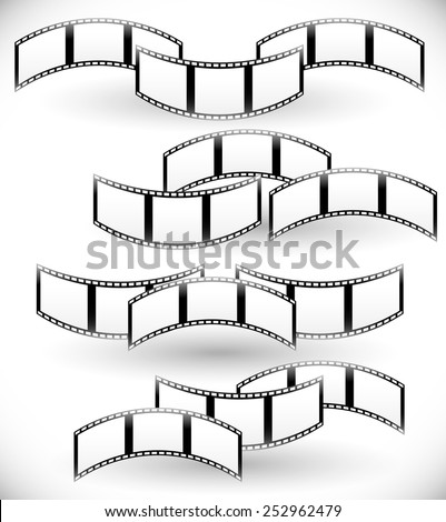 Filmstrips, film rolls vector. Set of photographic compositions. - stock vector
