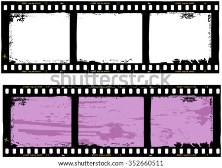 filmstrips grungy photo frames,with free copy space,vector,fictional artwork - stock vector