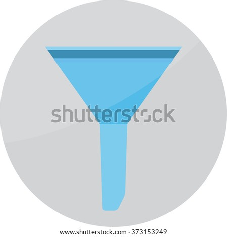 Filter funnel icon. Cone and chemistry experiment, tool neck. Vector art abstract unusual fashion illustration