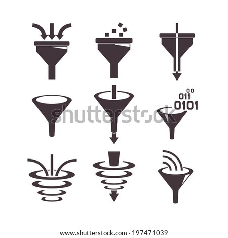 filter icons, data filter, data tunnel icons set, analysis concept - stock vector