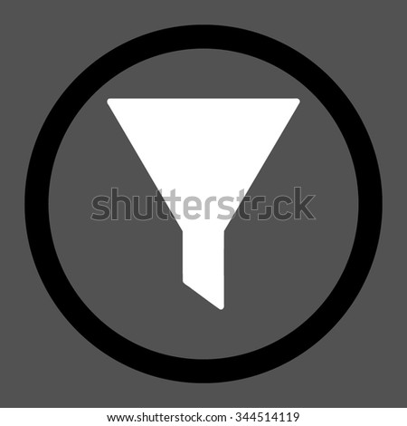 Filter vector icon. Style is bicolor flat rounded symbol, black and white colors, rounded angles, gray background.