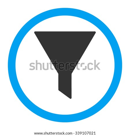 Filter vector icon. Style is bicolor flat rounded symbol, blue and gray colors, rounded angles, white background.