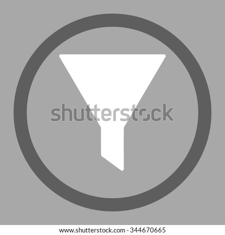 Filter vector icon. Style is bicolor flat rounded symbol, dark gray and white colors, rounded angles, silver background.