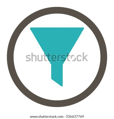Filter vector icon. Style is bicolor flat rounded symbol, grey and cyan colors, rounded angles, white background.
