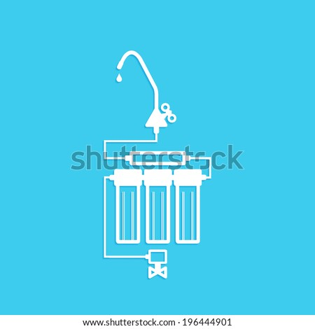 filters to purify your drinking water, icon isolated on a blue background - stock vector