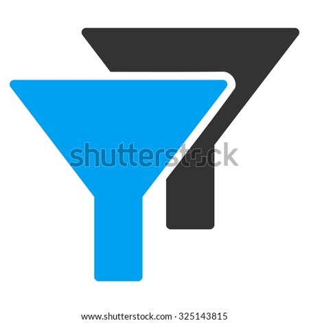 Filters vector icon. Style is bicolor flat symbol, blue and gray colors, rounded angles, white background.