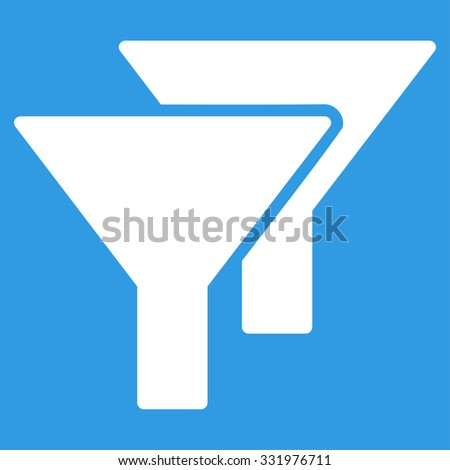 Filters vector icon. Style is flat symbol, white color, rounded angles, blue background.