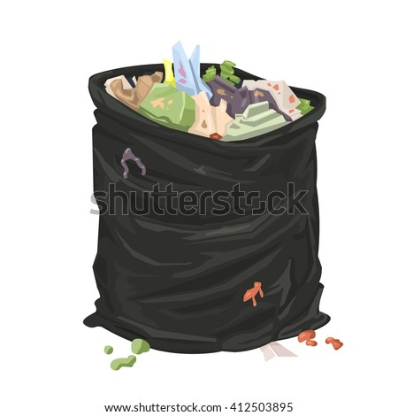 Filthy open litter bin bag. Vector illustration icon of an open black sack full of litter. Open trash or garbage bag. - stock vector