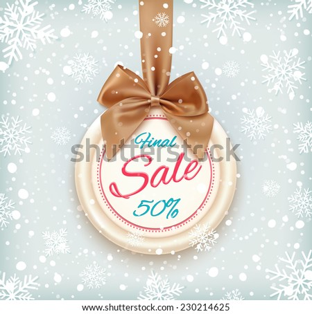Final sale background on round banner and snow. Sale.  Winter sale. Christmas sale. New year sale. Vector illustration - stock vector