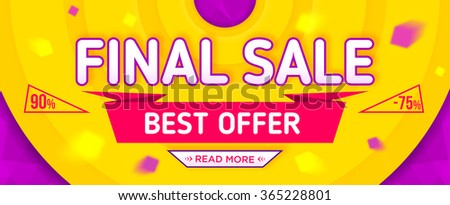 Final sale banner. Sale and discounts. Vector illustration - stock vector