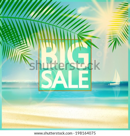Final summer sale design template with beach. EPS10 - stock vector