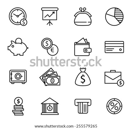 Finance and bank Icon Set. Simple line style black icons on white background - stock vector