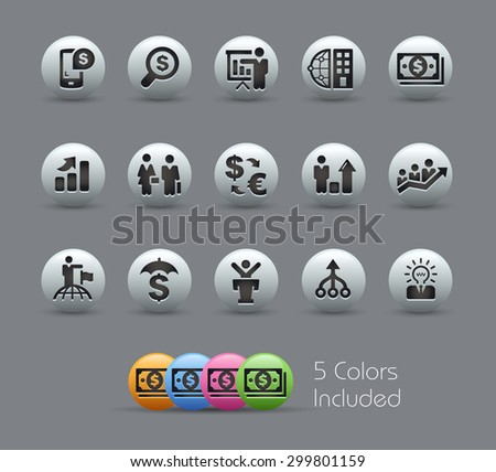 Finance and Business Strategies // Pearly Series ----- The Vector file includes 5 color versions for each icon in different layers ----- - stock vector