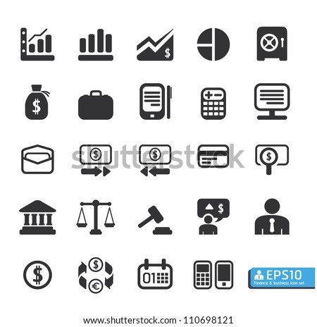 Finance and business vector icon set - stock vector