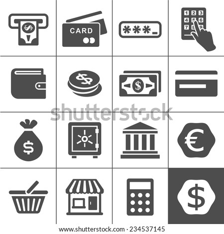 Finance and money icon set. Simplus series vector icons - stock vector