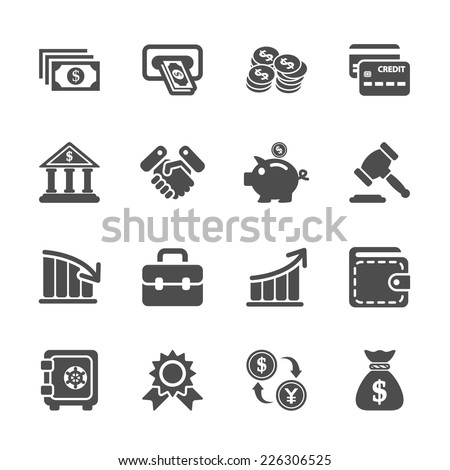 finance and money icon set, vector eps10. - stock vector
