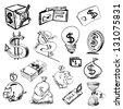 Finance and money icons collection. Hand drawing sketch vector illustration - stock vector
