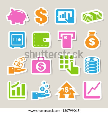Finance and money  sticker icon set.Illustration eps10 - stock vector