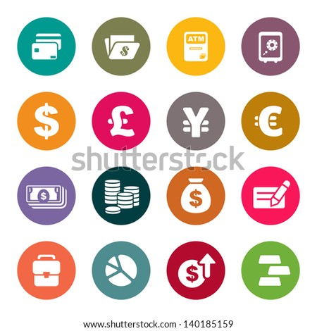 Finance and money theme icons set - stock vector