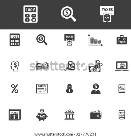 finance, bank, invesment, accounting, taxes icons - stock vector
