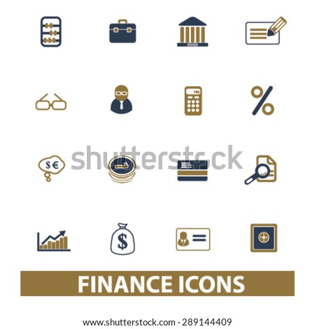 finance, bank, investment isolated icons, illustrations, vector - stock vector