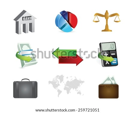 finance banking concept icon set illustration design over white - stock vector