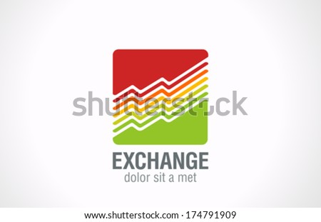 Finance Business dynamics graph vector logo design template. Stock Exchange Trading Charts as logotype creative concept symbol. Financial Shares Go up. Grow Funds investment icon. - stock vector