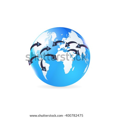 Finance Concept Isolated Globe World Symbol. Vector Dollars Sign Arrows Action - stock vector