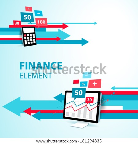 finance element arrow display computer pc calculator icon blue - stock vector